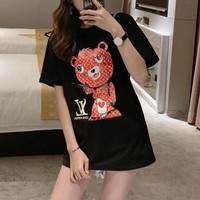 """Louis Vuitton"" Women Fashion Letter Bear Pattern Print Short Sleeve Casual T-shirt Top Tee"