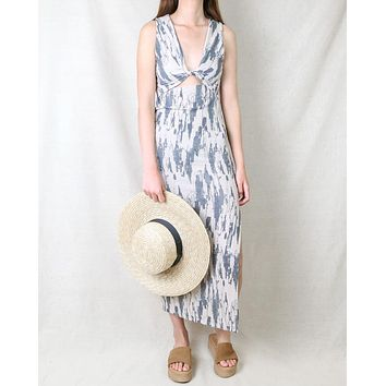 Tessa Tie Dye Cut Out Printed Midi Dress in Taupe Charcoal