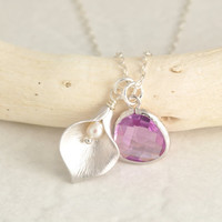 Calla Lily Necklace - bridesmaid necklace, bridesmaid gift, wedding jewelry, glass stone necklace, lily pendant