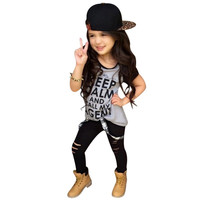 Casual Kids Baby Girls Clothes Set Tops Letter Printe T-shirt Pants Leggings Outfits 2-7Y UBY
