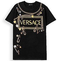Onewel Versace Women Men Print Chain Tassel brooch Print Tee Shirt Top Black