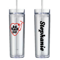 Vet Tech Heart Stethoscope Personalized Tumbler - Perfect Gift - Free Shipping
