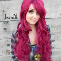 ON SALE // Dark Auburn Red, Long Curly Wig with Natural Scalp Piece, Natural Wavy Hair, Full Body, Pin Up Hair Style, Mermaid Cosplay