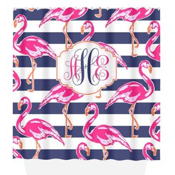 Flamingo SHOWER CURTAIN, Lilly Flower, Hot Pink Navy Stripe, Dorm Custom MONOGRAM Personalized, Girl Sister Decor, Towel, Plush Bath Mat