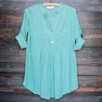polka dot pintuck blouse in mint green