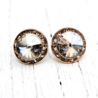 Champagne Swarovski Crystal Stud Earrings