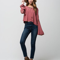 FULL TILT Womens Lace Up Bell Sleeve Top | Blouses