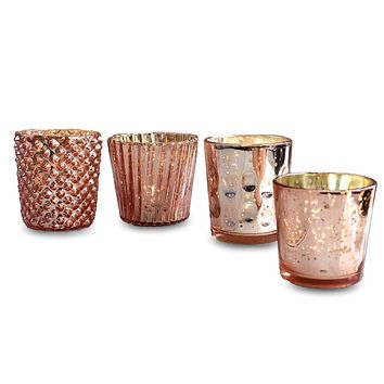 Best of Show Mercury Glass Tealight Votive Candle Holders (Rose Gold Pink, Set of 4, Assorted Styles) - for Weddings, Events, Parties, and Home Décor, Ideal Housewarming Gift