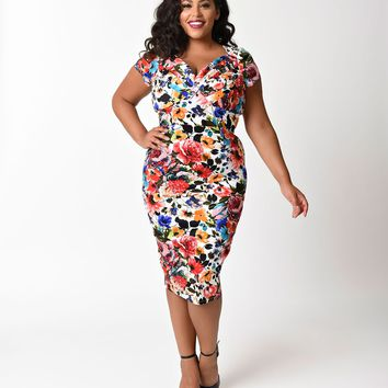 Unique Vintage Plus Size 1950s Bright Blossoming Floral St. Pierre Wiggle Dress