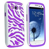 eForCity Hybrid Case Compatible with Samsung Galaxy S III / S3, Purple Skin / White Zebra Hard