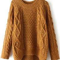 Khaki Cable Knit Hi-Low Sweater