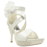 Womens Dress Sandals X-Strap and Tulle Flower Back Zipper Closure White SZ