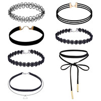 7 Pieces Choker Necklace Set Women Stretch Velvet Classic Gothic Black Tattoo Lace Chokers Jewelry