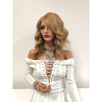 """Blond Balayage Front Lace Wig 10""""   Deep Parting   Volume Soft Layered Hair   Hope 1018 10"""