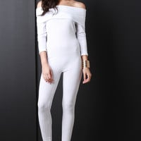 Ribbed Knit Off-The-Shoulder Quarter Sleeve Jumpsuit