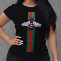 GUCCI New fashion women red and green stripe bee casual T-shirt top Black
