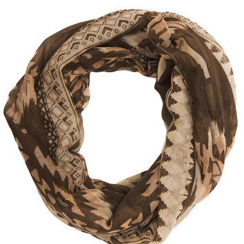 Summer Love Aztec Infinity Scarf - Taupe - One Size / Taupe