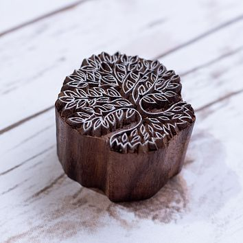 Tree of Life Hand Carved Wood Block Print Stamp