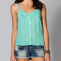 Full Tilt Button Front Womens Cami Mint  In Sizes