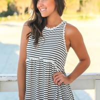 Black and White Striped Babydoll Top with Back Zipper