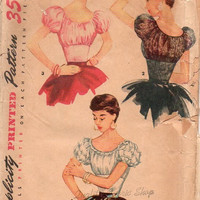 Simplicity 4929 Sewing Pattern 1950s Empire Style Peasant Blouse Ruffle Sleeve Shirt Top Fitted Bodice Bust 34