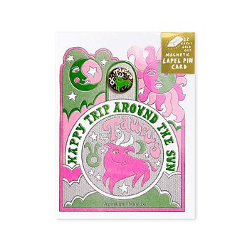 Astrology Birthday Card + Pin Combo - Taurus