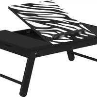 Altra Furniture Folding Laptop Tray Table, Black and Zebra Print