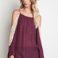 Crochet Cold Shoulder Top - Wine