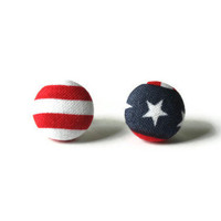 Captain America Patriotic Fabric Covered Button Earrings