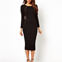 Floral Lace Cut-Out Long Sleeve Backless Bodycon Midi Dress