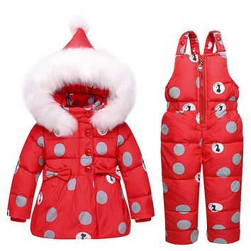 2018 Winter Children Down Jacket Overall Suits The New Two-piece Girls 1 To 3 Years Old Baby Collars Infant Girls Winter Coat