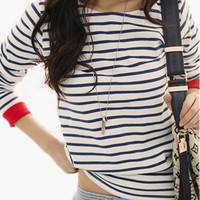 Dark Blue Horizontal Stripes Long Sleeves Blouse