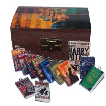 Harry Potter Book Chest, Hogwarts Gift Box, Miniature Books, Harry Potter Jewelry Box, The Quibbler, Daily Prophet, Harry Potter Necklace