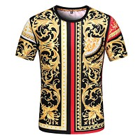 Versace classic personality pattern fashion men's and women's short-sleeved tops T-shirts