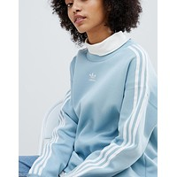 adidas Originals adicolor Three Stripe Sweatshirt In Blue