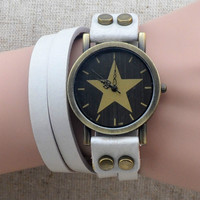 Handmade Vintage Genuine Real Leather Watches Band Lady Woman Girl Quartz Wrist Watch White