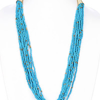 NECKLACE / MULTI STRAND / BOHEMIAN / MICRO BEAD / METAL / METAL BEAD / 1/2 INCH DROP / 26 INCH LONG / NICKEL AND LEAD COMPLIANT