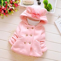 Autumn Winter Baby Girls Sweet Long Sleeve Jackets Kids Infant Princess Outerwear Coats ropa de ninas