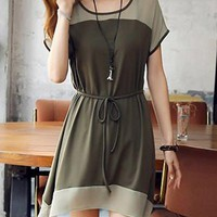 Army Green Short Sleeve Mini Dress