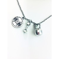 Badass Weightlifter Triple Charm Necklace in Silver