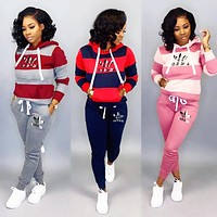 Adidas Fashion Women Casual Print Stripe Long Sleeve Top Pants Set Two-Piece Sportswear