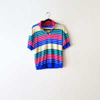 90s Red Yellow Blue Striped Shirt - Striped Polo Shirt Womens Polo Shirt Colorful Womens Golf Shirt Striped Top Collared Size Large L