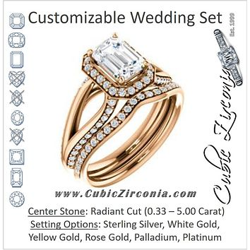 CZ Wedding Set, featuring The Gabrielle Mia engagement ring (Customizable Radiant Cut Design with Halo & Accented Three-sided Wide Split Band)