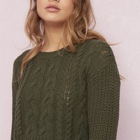 Distressed Cropped Cable Knit Sweater