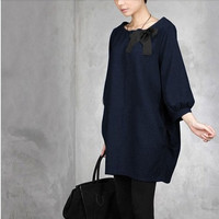 women linen blouse cotton blouse large size dress loose dress cotton sweater casual loose sweater cotton loose blouse long sleeve blouse