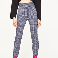 HIGH WAIST CHECKED TROUSERS White / Navy - 29 (US 8)