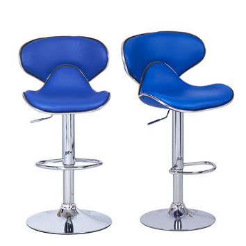 Adeco Blue Cushioned Leatherette Adjustable Barstool Chair, Curved Back, Chrome Finish Pedestal Base (Set of two)