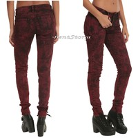 Licensed cool LOVEsick RED Acid Wash Skinny Jeans Pants JUNIORS Sizes Size 1 Hot Topic NWT