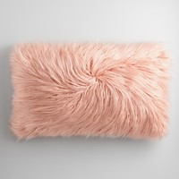Oversized Blush Mongolian Faux Fur Lumbar Pillow