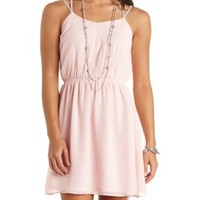 Beaded Strappy-Back Chiffon Dress by Charlotte Russe - Pale Pink